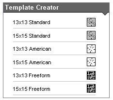 Template Type selection