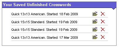 List of saved crosswords